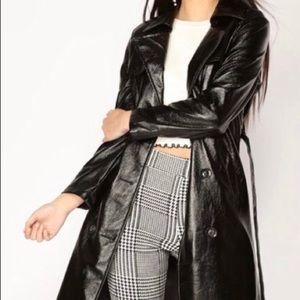 Fashion nova wet faux leather long coat